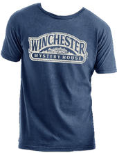 blue winchester mystery house logo t-shirt