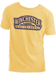 yellow winchester mystery house logo t-shirt