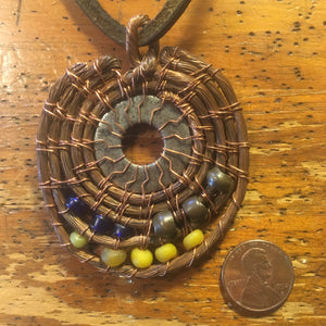 Copper Pendant with Blue, Yellow and Brass Beads and Washer
