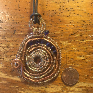 Spiral Wire Washer Pendant with Blue Beads