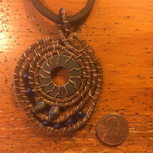 Copper Coiled Washer Pendant with Blue and Brass Beads