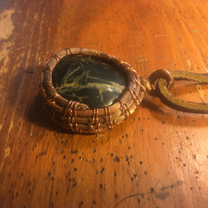 Copper-wrapped Black Stone Pendant