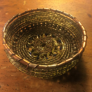 Copper-Rimmed Lamp Cord Basket
