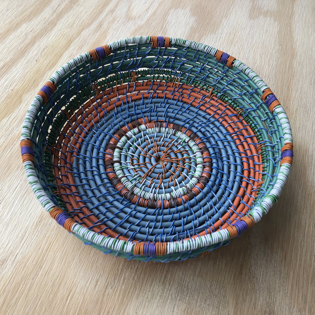 Green, orange and blue wire bowl