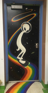 Alien Skateboarding on Rainbow