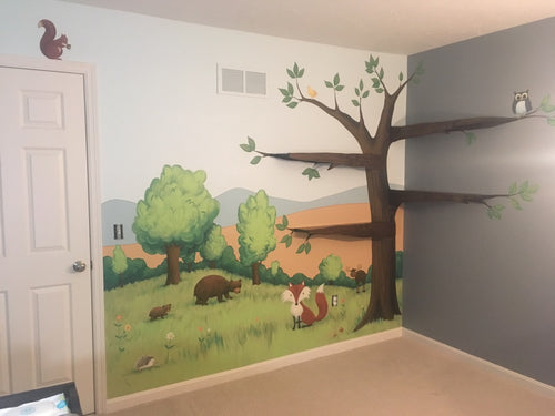 Woodland Scene Baby Room with Tree Shelf