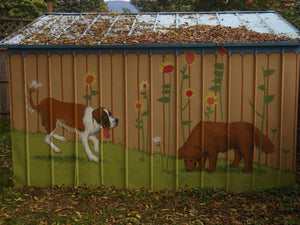 Dogs on a Shed