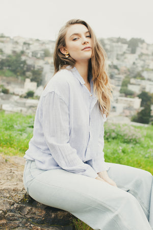 Blue Stripe Slouch Shirt