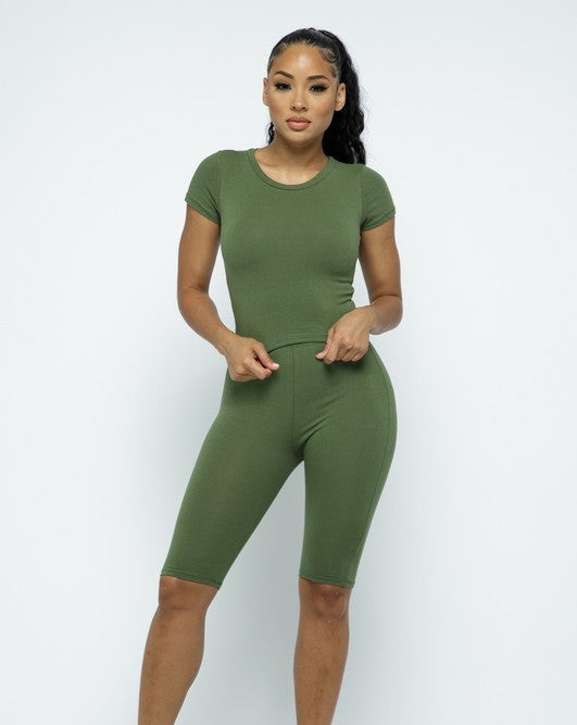 Jane Biker Short Set-Olive