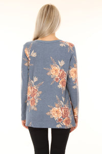 Charlee Knotted Long Sleeved Top-Chambray