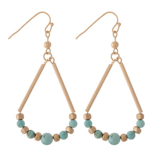 Alana Beaded Drop Earrings-Turquoise