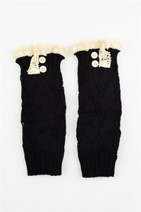 Crochet Lace Leg Warmer- Black