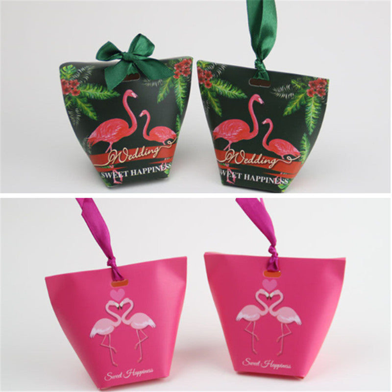 50pcs Red And Green Creative Flamingo Style Candy Boxes Wedding