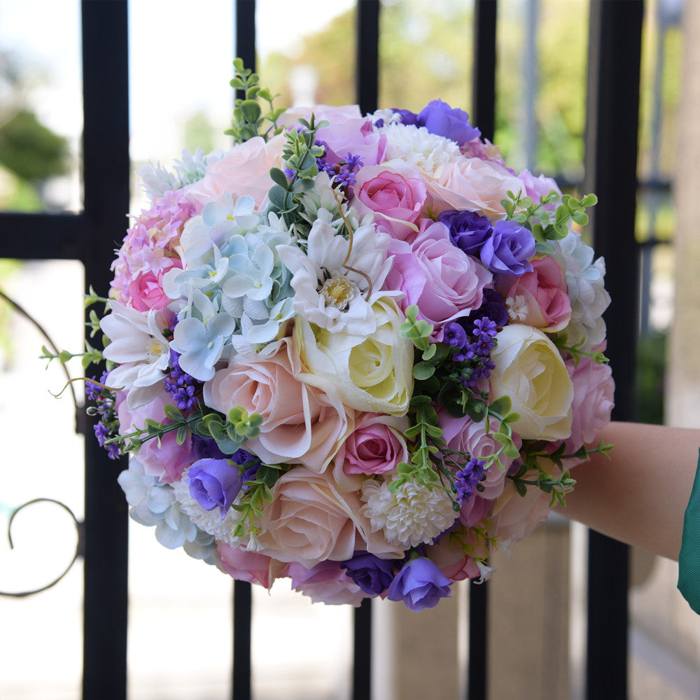 Elegant Purple Artificial Flowers Wedding Bouquets 2018 For Brides