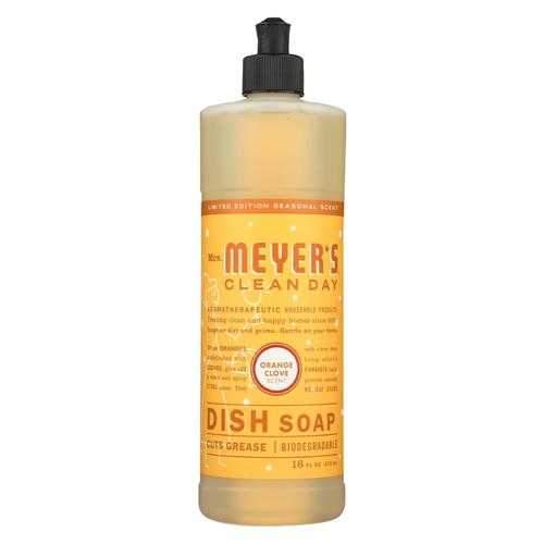 Mrs. Meyers Clean Day - Liquid Dish Soap - Orange Clove - Case of 6 - 16 FZ