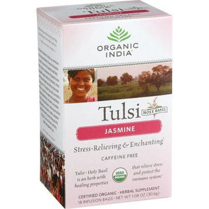 Organic India Organic Tulsi Tea - Jasmine - Caffeine Free - Infusion Bags - 18 Tea Bags - Case of 7
