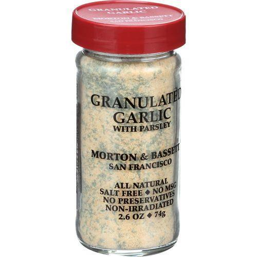 Morton and Bassett Seasoning - Garlic with Parsley - Granulated - 2.6 oz - Case of 3