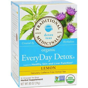 Traditional Medicinals Lemon EveryDay Detox Herbal Tea - 16 Tea Bags - Case of 6