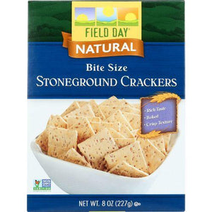 Field Day Crackers - Bite Size Stoneground - 8 oz - case of 10