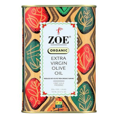 Zoe Olive Oil - Organic Extra Virgin - Case of 6 - 25.5 Fl oz.