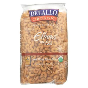 Delallo 100% Organic Whole Wheat #52 Elbows - Case of 16 - 1 lb.
