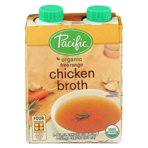 Pacific Natural Foods Chicken Broth - Free Range - Case of 6 - 8 Fl oz.
