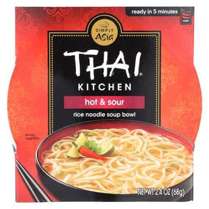 Thai Kitchen Hot and Sour Rice Noodle Soup Bowl - Case of 6 - 2.4 oz.