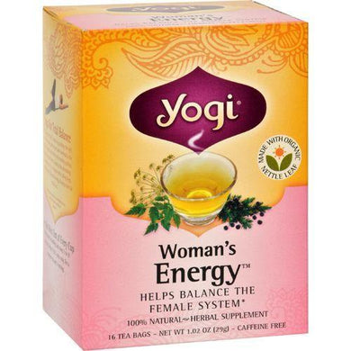 Yogi Woman's Energy Herbal Tea Caffeine Free - 16 Tea Bags - Case of 6