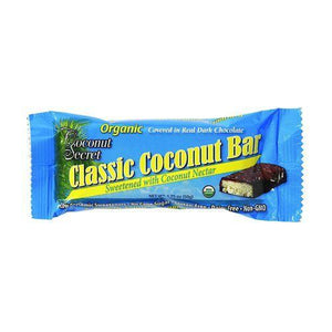 Coconut Secret Organic Chocolate Covered Coconut Bar - Classic Coconut - Case of 12 - 1.75 oz Bars
