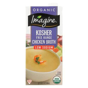 Imagine Foods Chicken Broth - Kosher Free - Case of 12 - 32 Fl oz.