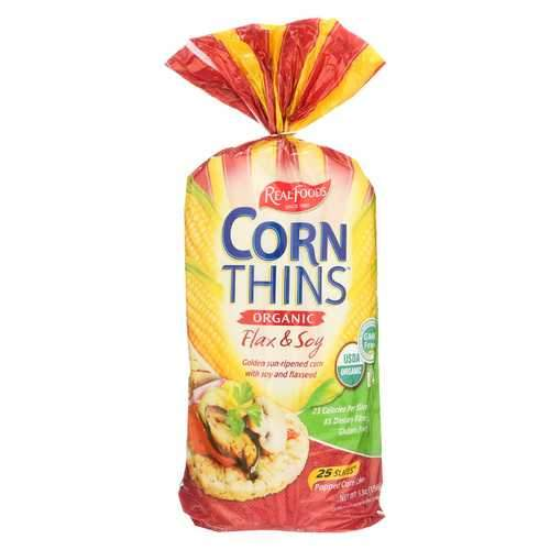 Real Foods Organic Corn Thins - Soy and Linseed - Case of 6 - 5.3 oz.
