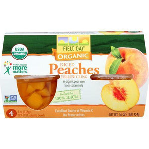 Field Day Fruit Cups - Organic - Yellow Cling Peaches - Diced - 4/4 oz - case of 6