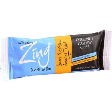 Zing Bars Nutrition Bar - Coconut Cashew Crisp - 1.76 oz Bars - Case of 12