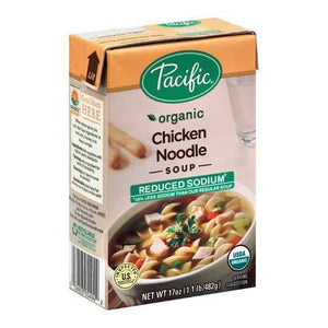 Pacific Natural Foods Chicken Noodle Soup - Reduced Sodium - Case of 12 - 17 oz.