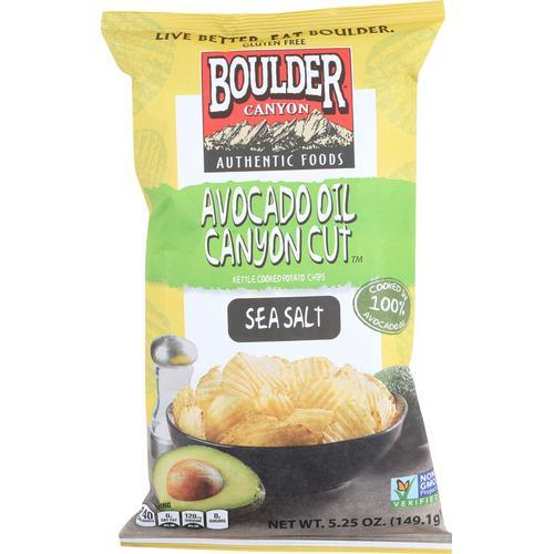 Boulder Canyon Natural Foods Avocado Oil Canyon Cut Potato Chips - Sea Salt - Case of 12 - 5.25 oz.