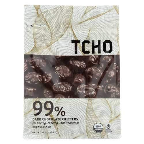 Tcho Chocolate Organic Dark Chocolate Critters - Unsweetened - Case of 12 - 8 oz.
