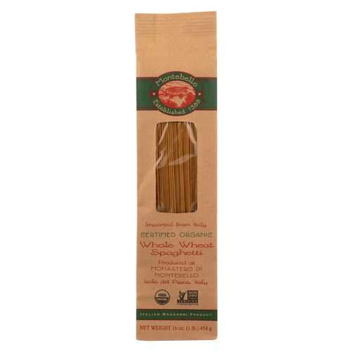 Montebello Organic Pasta - Whole Wheat Spaghetti - Case of 12 - 1 lb.