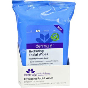 Derma E Facial Wipes - Hydrating - 25 ct