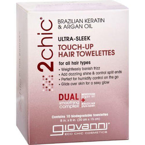 Giovanni Hair Care Products Touch Up Hair Towelette - 2Chic Ultra Sleek - 10 ct