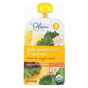 Plum Organics Second Blends Hearty Veggie Meal - Kale, Sweet Corn and Quinoa - Case of 6 - 3.5 oz.