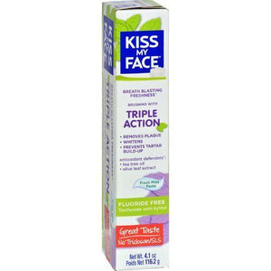 Kiss My Face Toothpaste - Triple Action - Fluoride Free - Paste - 4.5 oz