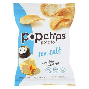Popchips Potato Chip - Sea Salt - Case of 24 - 0.8 oz.