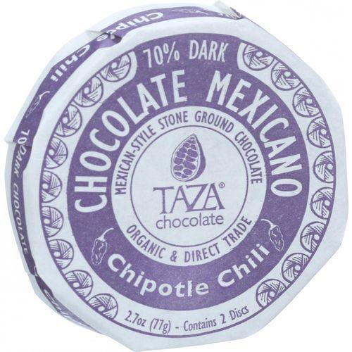 Taza Chocolate Organic Chocolate Mexicano Discs - 70 Percent Dark Chocolate - Chipotle Chili - 2.7 oz - Case of 12