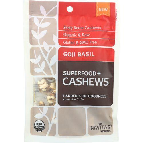 Navitas Naturals Cashews - Organic - Superfood Plus - Goji Basil - 4 oz - case of 12