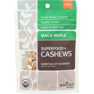 Navitas Naturals Cashews - Organic - Superfood Plus - Maca Maple - 4 oz - case of 12