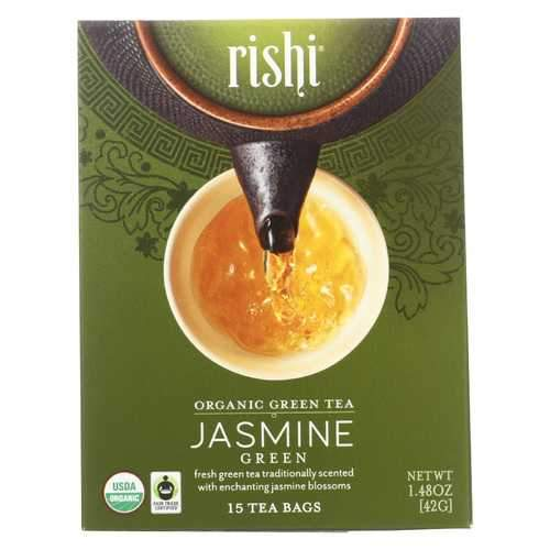 Rishi Organic Green Tea - Jasmine - Case of 6 - 15 Bags