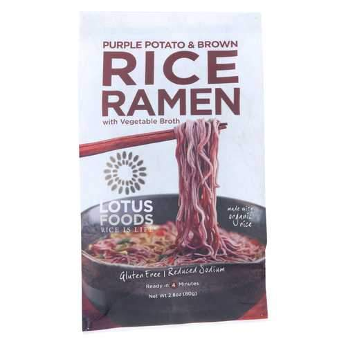 Lotus Foods Purple Potato and Brown Rice Ramen with Vegetable Soup - Case of 10 - 2.8 oz.