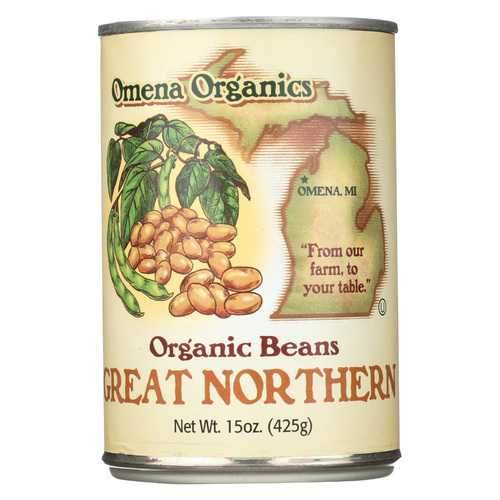 Omena Organics Great Northern Beans - Organic - Case of 12 - 15 oz