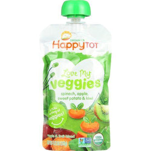 Happy Tot Toodler Food - Organic - Love My Veggies - Spinach Apple Sweet Potato and Kiwi - 4.22 oz - case of 16