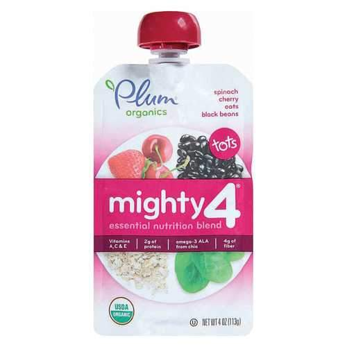 Plum Organics Mighty 4 Blends Tots - Cherry, Strawberry, Black Bean, Spinach and Oat - Case of 6 - 4 oz.